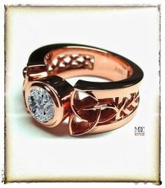 Pink Gold Triquetra Celtic Diamond Solitaire Engagement ring #PinkLove #chabbychic