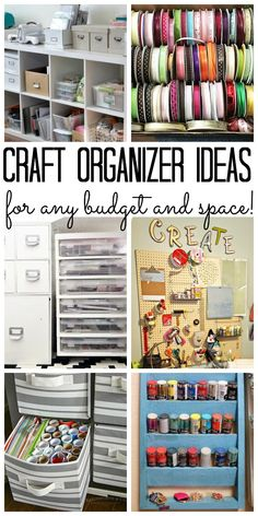Craft Organizer: Tips and Hacks for Organizing Your Supplies Craft organizer: Tips and trick for organizing your craft supplies on any budget - big or small! Art Storage, Craft Room Storage, Storage Ideas, Craft Rooms, Craft Storage Solutions, Kitchen Storage, Home Organization Hacks, Organizing Your Home, Organizing Crafts