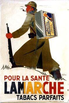 A. Gilbert - Pour la Santé Lamarche Tabacs - circa 1939 tobacco vintage poster