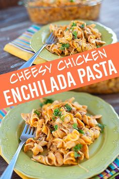 We love this simple pasta recipe! We love this simple pasta recipe! Enchilada Casserole Beef, Cheesy Chicken Enchiladas, Chicken Enchilada Casserole, Enchilada Sauce, Casserole Recipes, Mexican Pasta Recipes, Easy Pasta Recipes, Cooking Recipes, Chicken Recipes