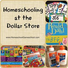 Homeschooling at the dollar store! The dollar store is your best friend when it comes to finding inexpensive homeschooling supplies! -HomeschoolGameschool.com