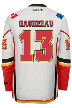 Calgary Flames Johnny GAUDREAU #13 Official Away Reebok Premier Replica NHL Hockey Jersey (HAND SEWN CUSTOMIZATION)