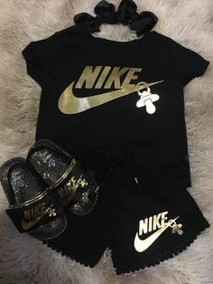 Cute Little Girls Outfits, Kids Outfits Girls, Cute Lazy Outfits, Toddler Outfits, Baby Nike Outfits, Nike Baby Clothes, Luxury Baby Clothes, Designer Baby Clothes, Baby Girl Fashion