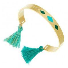 Bracelet pompon flèche Zag Bijoux (doré/bleu) - Bijoux Fantaisie Créateurs