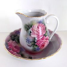 Hand Painted Porcelain Victorian Style Small Pitcher and Bowl