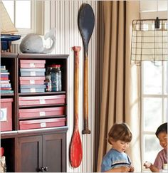 Rustic Oars, Pottery Barn Kids and ticking on the wall