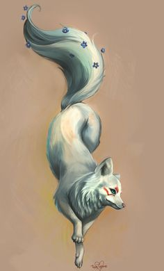 White Fox Tattoo by *tiggytuppence on deviantART. Only I'd want it to look more like a wolf and no face markings