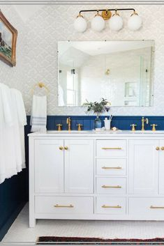 I'm loving these blue paneled walls <3 blue paneling is  so unique—I loooove this gold and blue bathroom vanity! #ad