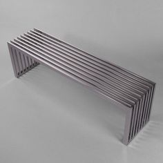 Stainless steel bench, Steel is a mild iron alloy with carbon. Recycled Furniture, Metal Furniture, Table Furniture, Contemporary Furniture, Garden Furniture, Furniture Design, Metal Garden Fencing, Chaise Chair, Iron Bench