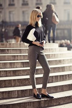 <3 Outfit: Dark tight Wool Pants, black Turtleneck, black Loafers and Clutch
