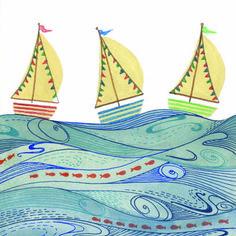 Explorez les nombreuses possibilités de motifs que vous offrent les bouteilles de peinture pointe-fine en vous inspirant de ce motif maritime ludique!
