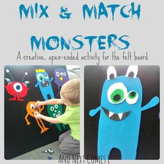 Mix and match monsters felt board play from And Next Comes L