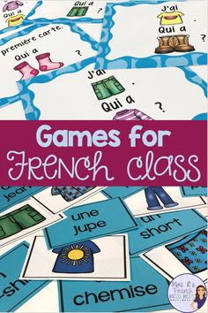 French grammar, vocabulary, and conjugation games for beginning and intermediate students of FSL and Core French classes from Mme R's French Resources French Lessons, Spanish Lessons, French Flashcards, French Worksheets, High School French, French Teaching Resources, Core French, French Classroom, Gymnasium