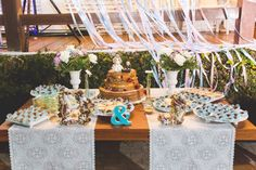 Mesa do bolo praia, wedding Beach, cake table, decoração rústica