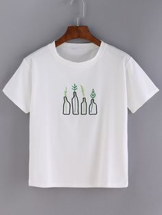 9$  Buy now - http://dikam.justgood.pw/go.php?t=1994 - White Bottle Embroidered Short Sleeve T-shirt 9$