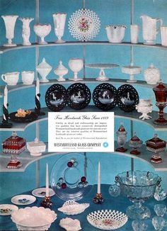 Westmoreland BLACK GLASS Milk Glass RUBY CRYSTAL Punch Bowl 1955 MAGAZINE AD