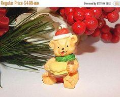 Teddy Bear Santa Claus Christmas Tree Ornament  Miniature