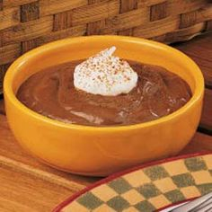 "Microwave Chocolate Pudding For One - ""Anytime I get a craving for a chocolaty treat, I whip up a dish of this rich pudding in the microwave,"" explains field editor Anne Boesiger of Meridian, Idaho. ""Using milk chocolate chips is another delicious option.""(I did this. It is so good. I added 1/4 tsp. vanilla. This would be good if you used 1/4 wheel of Mexican chocolate instead of chips. YS)"