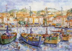 """Barques à Cassis (Ref/GIR025) by Philippe Giraudo - Reproduction 70 x 50 cm (19.75"""" x 27.60"""") - $ 24.99 Reproduction, French Riviera, French Artists, Painting, Painting Art, Paintings, Painted Canvas, Drawings"""