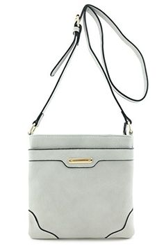Women's Medium Size Solid Modern Classic Crossbody Bag with Gold Plate (Gray) - http://leather-handbags-shop.com/womens-medium-size-solid-modern-classic-crossbody-bag-with-gold-plate-gray/