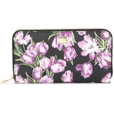 Dolce & Gabbana Ziparound Wallet With Tulip Print (44.595 RUB) ❤ liked on Polyvore featuring bags, wallets, black, zip wallet, zipper bag, zip bag, dolce gabbana wallet and zipper wallet