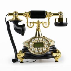 LNC Retro Vintage Antique Style Push Button Dial Desk Telephone Phone Home Living Room Decor