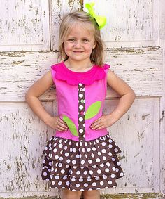 Look at this Pink & Brown Polka Dot Drop-Waist Dress - Toddler & Girls on #zulily today!