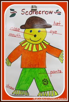 Scarecrow Anchor Chart in Kindergarten via RainbowsWithinReach