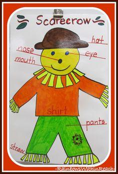 Scarecrow Anchor Chart in Kindergarten via RainbowsWithinReach