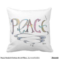 Peace Grade A Cotton 16 x 16 Throw Pillow