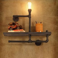 pipe for hot water on sale at reasonable prices, buy loft creative personality retro industrial pipes bookshelf wall sconce lights den wall pipe wall sconce Shop bedside wall lamp from mobile site on Aliexpress Now! Bookshelf Lighting, Wall Bookshelves, Wall Sconce Lighting, Pipe Lighting, Wood Shelves, Industrial Wall Lights, Industrial Light Fixtures, Industrial Bookshelf, Industrial Loft