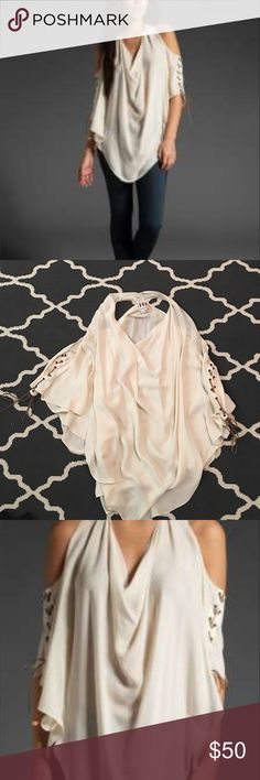 Haute hippie halter with drape cowl neck Lace up sleeves. Shirt is tough to photograph but wears like the pics! Haute Hippie Tops Blouses