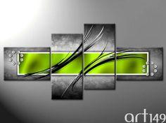 tableau abstrait gris et vert