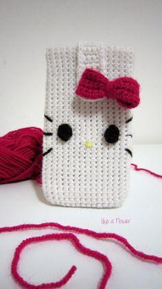 Crochet cover mobile phone crochet home, diy crochet, crochet baby, h Crochet Home, Love Crochet, Crochet Gifts, Crochet Yarn, Beautiful Crochet, Crochet Phone Cover, Hello Kitty Crochet, Knitting Patterns, Crochet Patterns