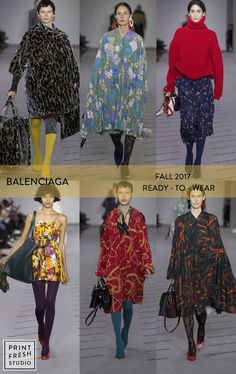 Fall 2017 Ready-to-wear Runway Print & Pattern Trends- Balenciaga Images: vogue.com mixed prints, leopard print,60s mod florals, pops of green,ditsy florals, yellow, red