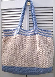 Crochet Navy Beach Bag