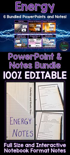 Introduce important Energy concepts to your students with this PowerPoint and notes bundle! Forms of Energy, Potential and Kinetic Energy, Energy Transformations, Heat Transfer and much more is included in this bundle.