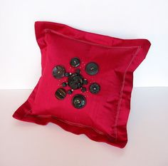 Button Pillow PRIMROSE PINK by PatsyDesigns on Etsy