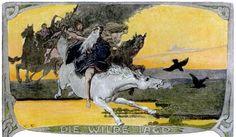 Emil Doepler's Die Götterwelt der Germanen Illustrations Viking Myths, Hunting Painting, Dragon's Lair, Old Norse, Norse Mythology, German Mythology, Twelfth Night, Asatru, Norse Vikings
