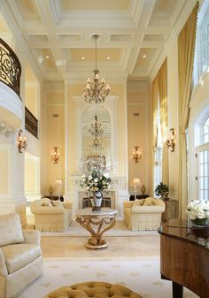 yellow and white coffered ceiling for a living room                                                                                                                                                      More
