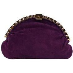 Preowned Andrea Pfister Vintage Purple Suede Clutch Handbag Bag W/... ($313) ❤ liked on Polyvore featuring bags, handbags, clutches, purple, vintage evening handbags, purple handbags, vintage evening purses, vintage handbags and special occasion handbags