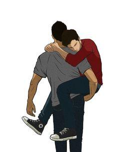 Teen Wolf -Hold On Derek Hale x Stiles Stilinski - Sterek Stiles Teen Wolf, Stiles Derek, Teen Wolf Dylan, Teen Wolf Fan Art, Teen Wolf Ships, Gay Tumblr, Sterek Fanart, Hugs, Gay Aesthetic