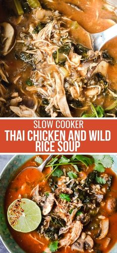 Crokpot Recipes, Slow Cooker Recipes, Dinner Recipes, Chicken Recipes, Chicken And Wild Rice, Wild Rice Soup, Slow Cooker Thai Chicken, Soups And Stews, Food Inspiration