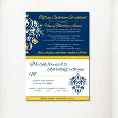 The Tiffany Navy and Yellow Wedding Invitations by YellowSparkStudio on Etsy, $25.00