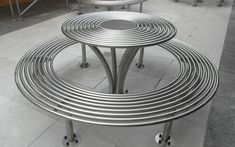 New Baseline picnic set. interesting street furniture. Circular picnic set from benchmark street furniture.
