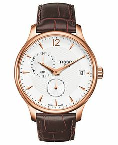 Tissot Watch, Men's Swiss Tradition Brown Leather Strap 42mm T0636393603700 - Men's Watches - Jewelry & Watches - Macy's