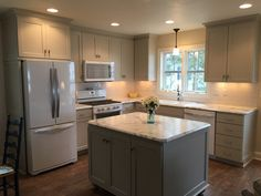 There is no question that designing a new kitchen layout for a large kitchen is much easier than for a small kitchen. A large kitchen provides a designer with adequate space to incorporate many convenient kitchen accessories such as wall ovens, raised. Kitchen Remodel Before And After, Kitchen Redo, Kitchen Ideas, Island Kitchen, Kitchen Floor, 10x10 Kitchen, Narrow Kitchen, Small Kitchen Layouts, Condo Kitchen