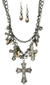 M Western Products Silver Double Chain Cross Charm Jewelry Set