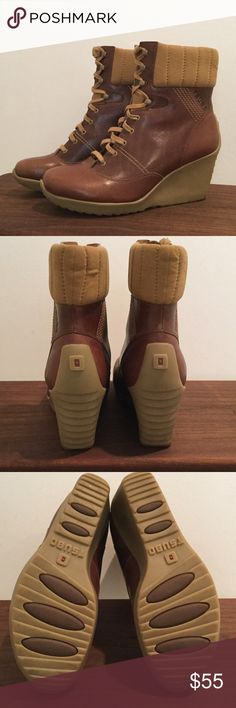 Tsubo boots Tsubo 2 1/2 inch wedges Brown and tan wedges worn a few times but in excellent condition. These boots agree with jeans and are so comfortable!!!! tsubo Shoes Ankle Boots & Booties