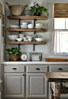 * just love these shelves above the gray.  Gorgeous 65 Gorgeous Small Kitchen Remodel Ideas https://wholiving.com/65-gorgeous-small-kitchen-remodel-ideas